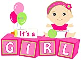 Welcome New Baby''It's a Girl'' Yard Announcement - Pink Outdoor Baby Shower Party Sign - Festive Newborn Lawn Stork Birth Decoration - Pregnancy Gift (Pink)
