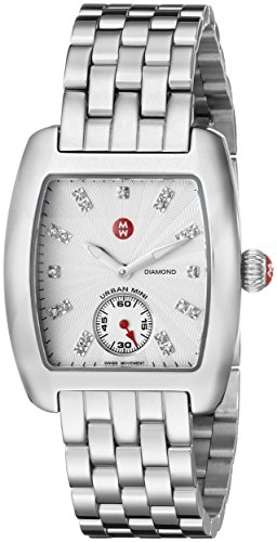 Diamond Mini Watch Urban (MICHELE Women's MWW02A000502 Urban Mini Analog Display Swiss Quartz Silver Watch)