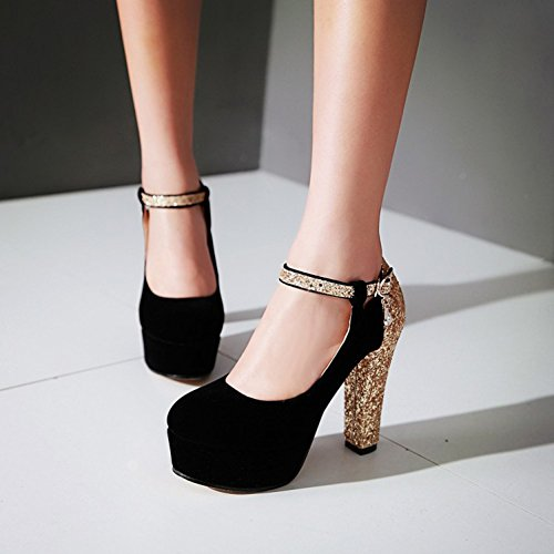 212d00a739a Summerwhisper Women s Sexy Sequin Round Toe Platform Pumps Ankle Strap  Chunky High Heel Shoes hot sale