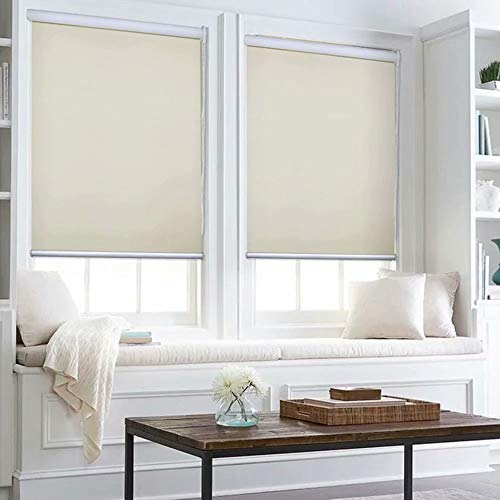 Kingmond 100% Blackout Thermal Insulated Waterproof Fabric Privacy Protection Customized Window Roller Shades,48″ W x 96″ L, Beige
