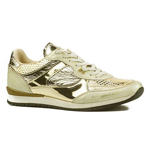 Buffalo Damen ES 30884 Sneakers Leder Turnschuhe Trainer Gold