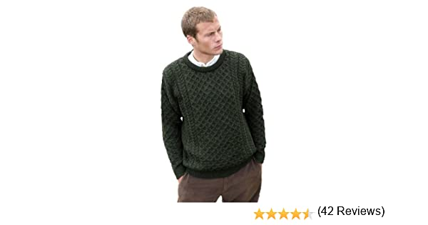 Aran Crafts Mens Merino Wool Crew Neck Sweater at Amazon Mens Clothing store: Pullover Sweaters