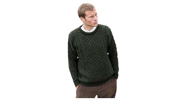 Made in Ireland by Aran woollen Mills a825 006 Green Aran 100/% Wool Sweater