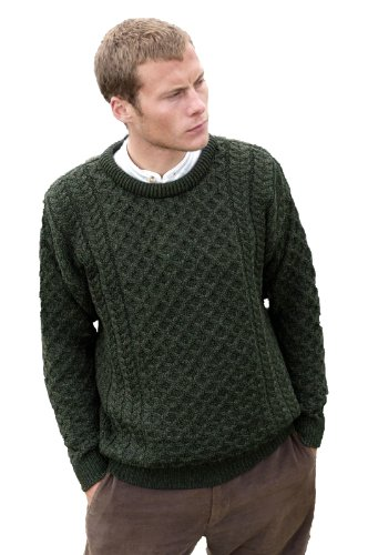 Aran Crafts Men's Merino Wool Crew Neck Sweater XL Army - Cable Pull Knit