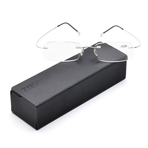 (ZUVGEES Lightweight Titanium Stainless Steel Rimless Reading Glasses R1004 (Silver, 100))