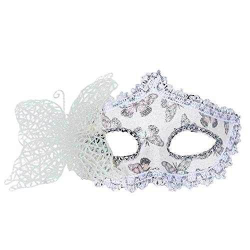 Tuscom Sexy Lace Sequin Butterfly Appeal Fox Mask Princess Eye Mask,for Nightclub Bar Halloween Masquerade (8 Style) (White) ()