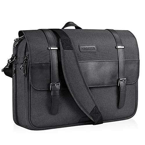 KROSER Laptop Messenger Bag 15.6 inch Laptop Bag Water-Repellent Briefcase Stylish Flapover Computer Case Shoulder Bag for School/Business/Women/Men-Charcoal Black ()