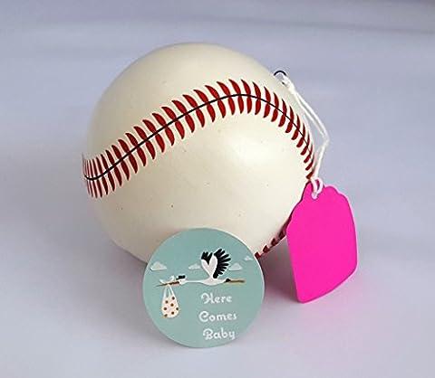 Premium Gender Reveal Exploding Baseball, Maximum Powder, Ceramic - Team Pink (Girl) - Here Comes (Exploding Smoke Bombs)