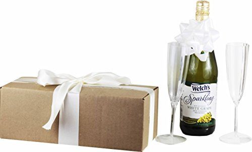 Celebrate the Occasion Gift Set with Welch's Sparkling Grape Juice ~ Includes 1 - 25.4 Oz Bottle of Welch's Sparkling Grape Juice and 2 Wine Flutes (White Grape Celebration)