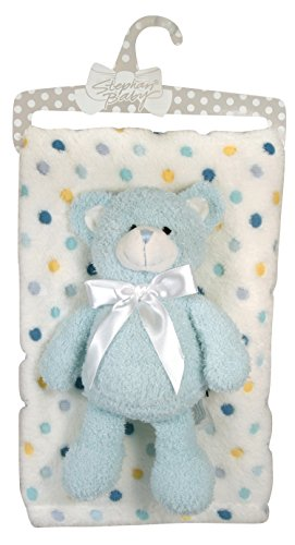 Stephan Baby Super Soft Multi Dot Fleece Blanket and Floppy Bear Gift Set, Blue