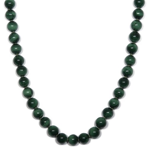 Sterling Silver 8mm Malachite Bead Necklace, 24