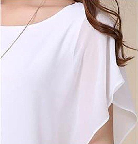 Maglietta Bluse Camicetta Sciolto Girocollo shirt Casual Pipistrello Manica Bianco A Donna Manicotto Tops Corta T Chiffon Jackenlove Estivi EwqP0qS