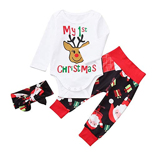 FEITONG Newborn Baby Christmas Deer Boys Letter Print Romper+Pants+Headband Set Clothes