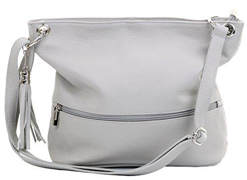 Primo Sacchi® italienne en cuir texturé épaule ou sac bandoulière. Gris clair