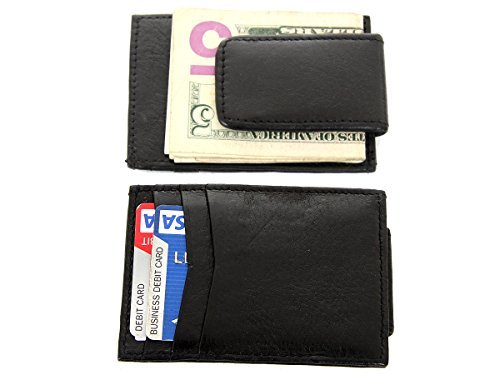 707a63773fcb Men's Leather Slim Design Magnetic Money Clip 3 Credit Card Holder Wallet  in Black 4x2.