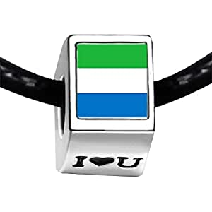 Chicforest Silver Plated Sierra Leone flag Photo I Love You Charm Beads Fits Pandora Biagi Troll Chamilia Kay's Beads Charms