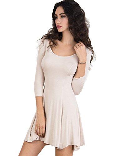 CR Women's Scoop Neck 3/4 Sleeve Plain Skater Mini Dress