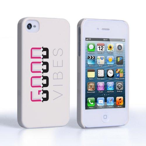 Caseflex iPhone 4 / 4S Hülle Weiß / Rosa Gute Stimmung Hart Schutzhülle