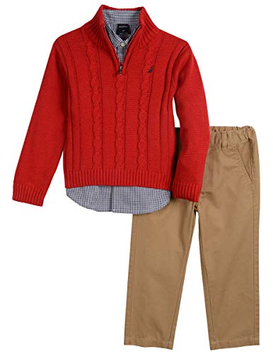 Nautica Toddler Boys' Three Piece Sweater Set, Bright red Cherry, 4T