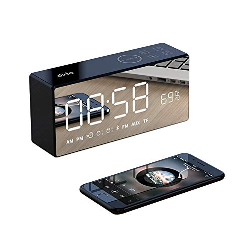 OOLIFENG Digital Alarm Clock with Snooze AUX TF Card Play, Adjustable Brightness Dimmer, 12/24 Hr, for Bedrooms/Night Stands