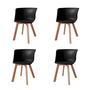 Ventamueblesonline Pack 4 SILLONES Winter Wood Negros ...