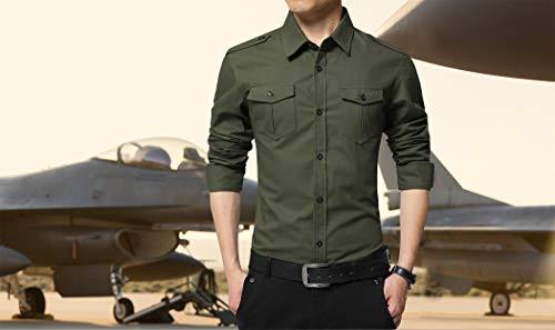XTAPAN Men's Casual Slim Fit Shirt Cotton Long Sleeve Button Down Dress Shirt 2