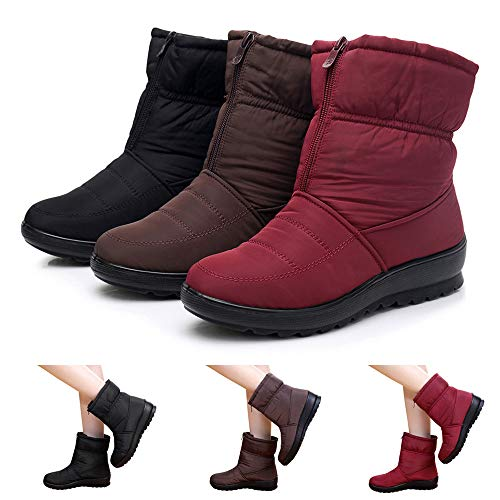 (Outtop(TM) Women Winter Snow Boots Ladies Waterproof Footwear Warm Short Martain Booties Shoes (US:8.5, Black))