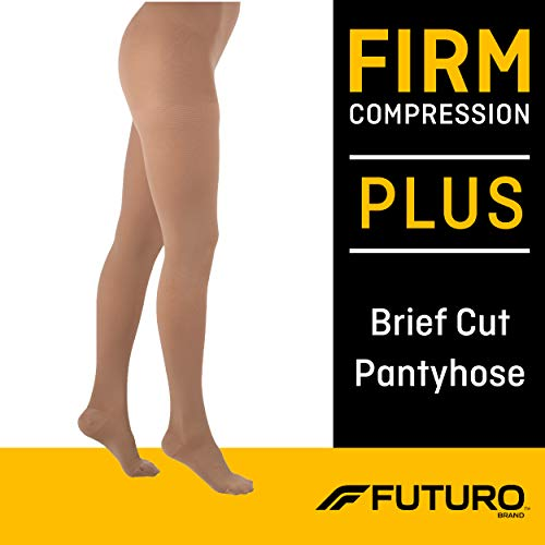 Futuro Pantyhose for Women, Firm Compression, Plus, Nude, Helps Relieve Chronic Leg Conditions and Swelling