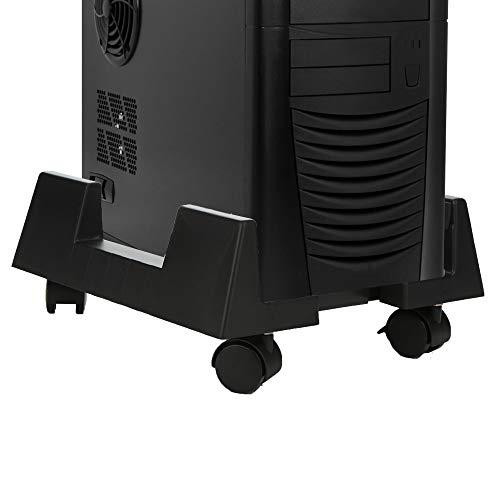 (Mind Reader TCPU-BLK Small CPU Holder, Adjustable Width Mobile Stand, Lockable Wheels, Black, Plastic )
