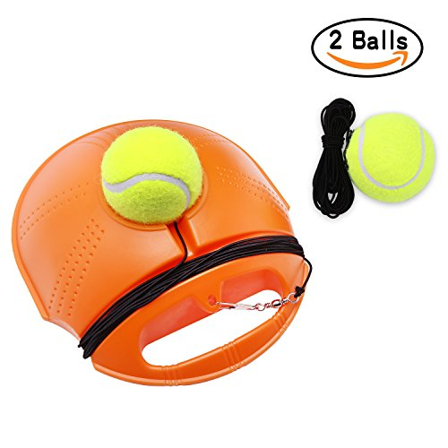 Tennis Trainer Set Rebound Baseboard, Fill & Drill Tennis Self-study Practice Training Tool Equipment Sport Exercise for Beginner With 2 Balls Tennis Equipment