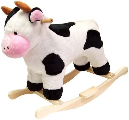 Toddler Rocking Animal Cow Toy- Your Child Will Love Their Ride On This Plush Cuddly Adorable Cow- Perfect For Kids 2 Years Up 80lbs- Safe Sturdy Wood Core Solid Wood Rockers Hand Crafted Moo-Good Fun