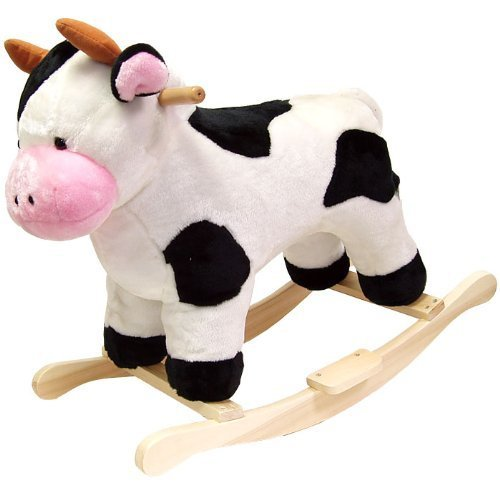 Toddler Rocking Animal Cow Toy- Your Child Will Love Their Ride On This Plush Cuddly Adorable Cow- Perfect For Kids 2 Years Up 80lbs- Safe Sturdy Wood Core Solid Wood Rockers Hand Crafted Moo-Good Fun by Plush Ride Ons