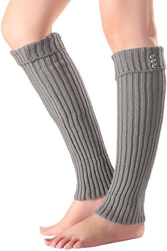 wearella Women Winter Leg Warmer Crochet Knit Boot Socks Gray