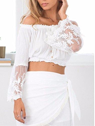 Entrega gratis Mujeres bordado cuello barco Off Shoulder Tops manga loto midriff Solid Color blusa camisa White