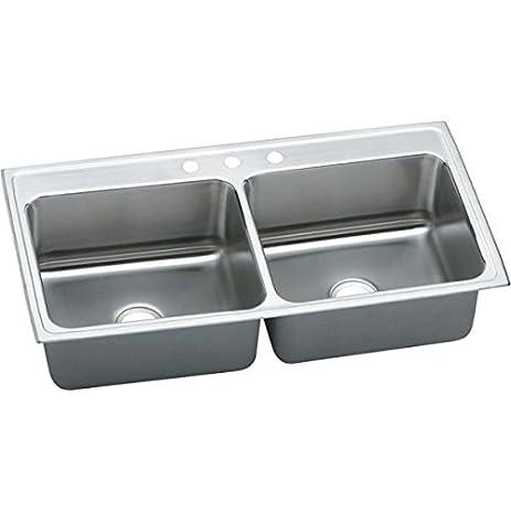 elkay dlr4322102 2 hole gourmet double basin drop in stainless steel kitchen sink elkay dlr4322102 2 hole gourmet double basin drop in stainless      rh   amazon com