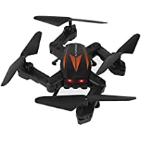 Owill F12W 2.4G 6-Axis Altitude Hold 2.0M HD Camera WIFI FPV RC Quadcopter Drone Selfie Foldable Helicopter (Black A)