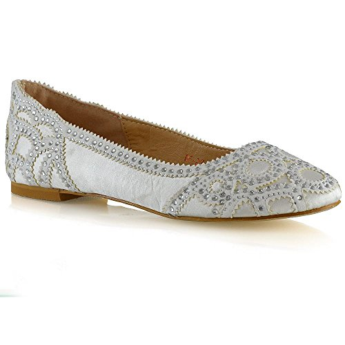 Essex Glam Donna Slip On Ballerine Donna Diamante Scarpe Da Sposa Strette Chiuse Scarpe In Raso Avorio