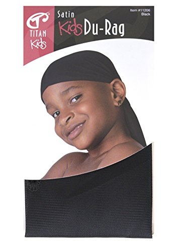Titan Classic Kids Satin Du-Rag Black, satin, breathable material, comfortable, ultra stretch, stretchable, super stretch, long tail, extra long tail,