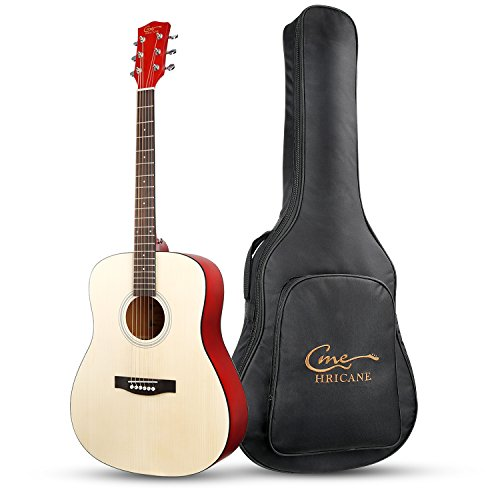 Hricane Acoustic Guitar 41″ Full Size Dreadnought Steel String Folk Guitar for Beginners, Adult with Gig Bag and Extra Strings and Polishing Cloth GU-1 (Dreadnought)