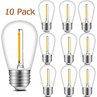 10 Pack Shatterproof S14 1W LED Replacement Bulbs 2700K Warm White Edison Light Bulbs E26 Candelabra Screw Base Vintage S14 LED Bulbs for Commercial Outdoor Patio Garden String Lights