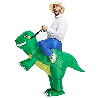 TOLOCO Inflatable Dinosaur T-REX Costume   Inflatable Costumes for Adults  Halloween Costume   Blow Up Costume (Green Dinosaur Adult)