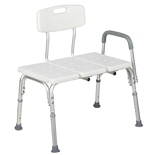 22' Aluminum Base (New Medical Shower Chair 10 Height Adjustable Bath Tub Bench Stool Seat Back & Arm)