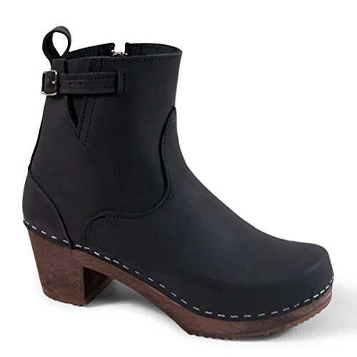Sandgrens Swedish High Heel Wooden Clog Boots for Women | Manhattan Black DK, EU 41