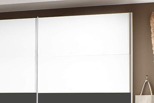 lifestyle4living - Juego completo de dormitorio en blanco y gris, juego completo de 4 piezas con puertas correderas, cama y armarios nocturnos: Amazon.es: Hogar