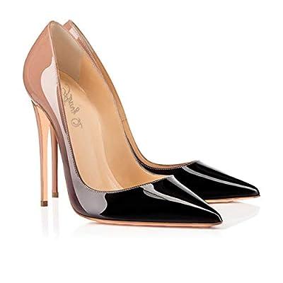 ZHAOYUNZHEN Women's Gradient High Heel Shoes Commuter Women's Shoes OL Patent Leather Gradient  Pointed high Heels