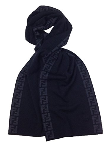Fendi Knit Monogram Wool Scarf Zucca Stripe, Nero Black by Fendi