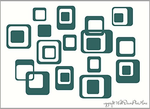 Square Wall Decals (Wall Decor Plus More WDPM650 6-Inch and Smaller Funky Wall R/Squares Vinyl Sticker Decals, Teal, 20-Piece)