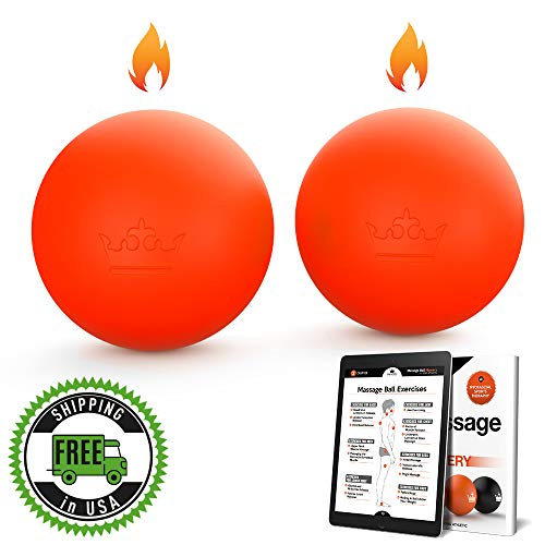 Massage Balls :: Hot or Cold Therapy Roller Set for Deep Tissue, Trigger Point & Myofascial Tensions Release :: New Lacrosse Ball Design for Back, Foot, Plantar Fasciitis, Yoga :: eBooks Included ()