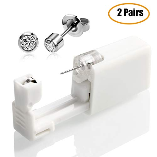 2 PCS Ear Piercing Gun Disposable No Pain Safety Unit Tool With Ear Stud Asepsis Pierce Kit For Girls Women Men (white)