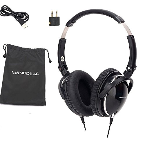 Active Noise Cancelling Headphones with Mic, MonoDeal Overhead Strong Bass Earphones, Folding and Lightweight Travel Headset with Carrying Case – Black